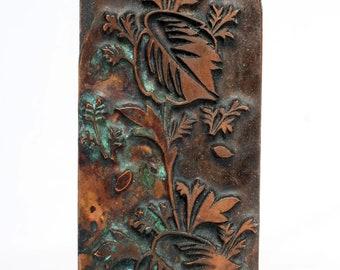 FOLIAGE 1903-1928 Antique GERMAN Copper Letterpress Cut printing block Plant Leaves