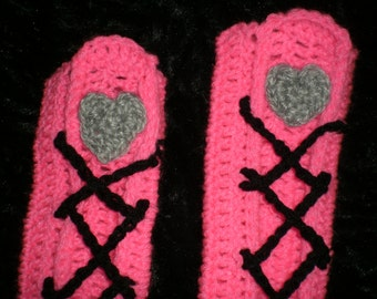 Hot Pink and Lace LEG WARMERS