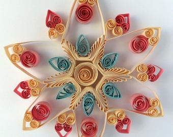 Quilled paper flower - wall decor - window decor - spring summer decor - Quilled art - quilled paper art - flower quilling