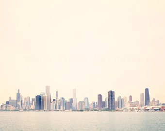 Skyline of Chicago | Color Photography | Lake Michigan Wall Art | Fine Art | pastel, pink, sky blue | art for walls | home decor | urban art