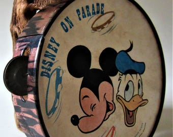 MICKEY MOUSE Club Donald Duck Tambourine Toy Instrument Disney on Parade Party 1970s Vintage Walt Disney Productions Disneyana USA