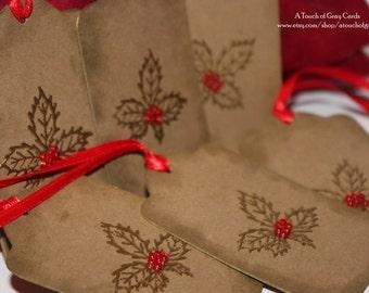 Christmas Gift Tags Holly Tags - Handmade Christmas Tags - Set of 6