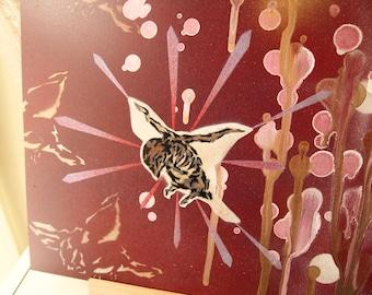 Bird Skeleton - Spray paint wall art