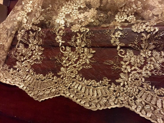 Sale Gold Embroidered Lace Table Runner Gold Tablecloth