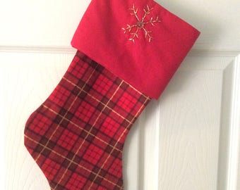 Red Tartan Stocking with Beaded Snowflake