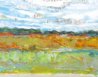 Late Afternoon original acrylic mixed media landscape painting by Polly Jones