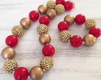 Red and Gold Bubblegum Necklace, Chunky Bubblegum Necklace, Toddler Jewelry, Bubblegum Bead Necklace, Toddler Girl Chunky Bracelet
