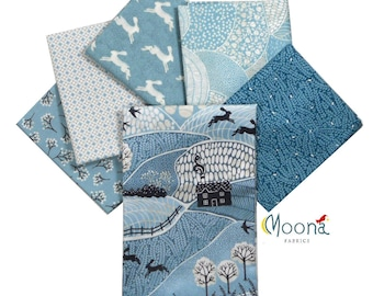 INTO THE WOODS Fat Quarter, Fabric Bundle Woodland Baby, Modern Farmhouse, Andover Fabric, Blue, Cotton, Quilt, Woodland Creatures, 6 FQs