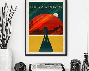 NASA Mars Jupiter Saturn Neptune  Propaganda Moon Travel Traveling Space X Tourism Astronaut Stars Shuttle Planet Minimal Minimalist Poster