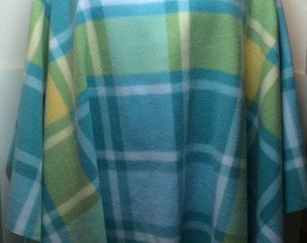 handmade ponchos shawls wraps cowl neck  blue plaid fleece