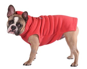 1.  Sold Out!   CORAL Polartec 200 Dog sweater (Limited color) soft, cozy warm french bulldog, pug, boston terrier, coat
