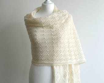 Light cream hand knitted lace shawl silk wool scarf rectangular handmade