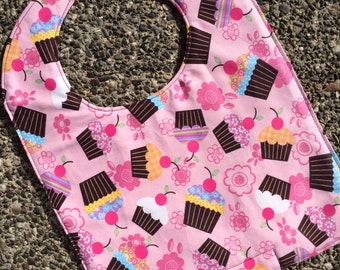 TODDLER or NEWBORN Bib: Cupcakes and Flowers, Personalization Available