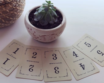 Vintage Playing Cards Table Numbers 1-10