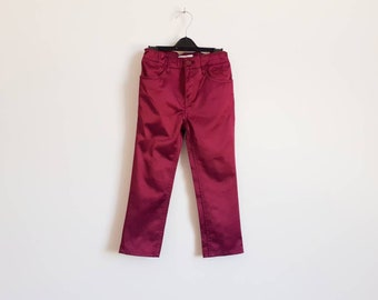 Burgundy red atlas pants, Vintage shiny pants for toddler girl, 3 - 4 years size, Summer style trousers for party, Kids high waist pants