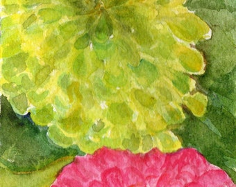 Zinnias Original Watercolor Painting, Flower Painting, Small Pink and Lime Green Floral Wall Art SharonFosterArt floral