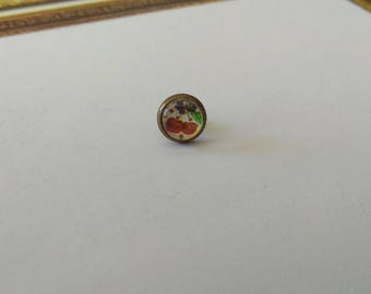 Cabochon, Stud Earrings, cherry