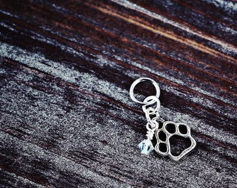 Paw Print - Dog/Cat/Pets - Knit/Knitting or Crochet/Crocheting - Individual Stitch Marker/Place Holder - Gifts for Knitters or Crocheters