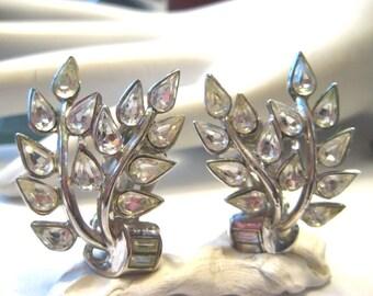True Vintage Trifari Earrings Clear Rhinestone Leaf Motif Clip On
