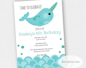 Narwhal Invitation | Narwhal Party Invitation | Ocean, Swimming | Instant Download TEMPLATE | Editable Text PDF