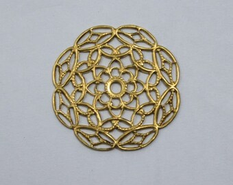30mm Filigree #21 Raw Brass (4 Pieces)