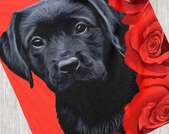 Black Lab Blanket 4BMY - Labrador Blanket - Duck Dog - Labrador Decor - Hunting Dog - Sherpa Dog Blanket - Black Lab Gifts - Black Lab Art