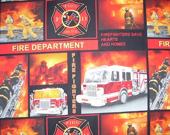 Fire Fighters and Vehicle Pictures on-  Cotton Fabric - 15 inches wide and sold by the yard