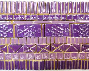 165+ Mosaic Tiles Handmade Ceramic Crafting Tiles Stoneware Art Tiles Deep Purple Violet Glazed Craft Tiles Assortment #1