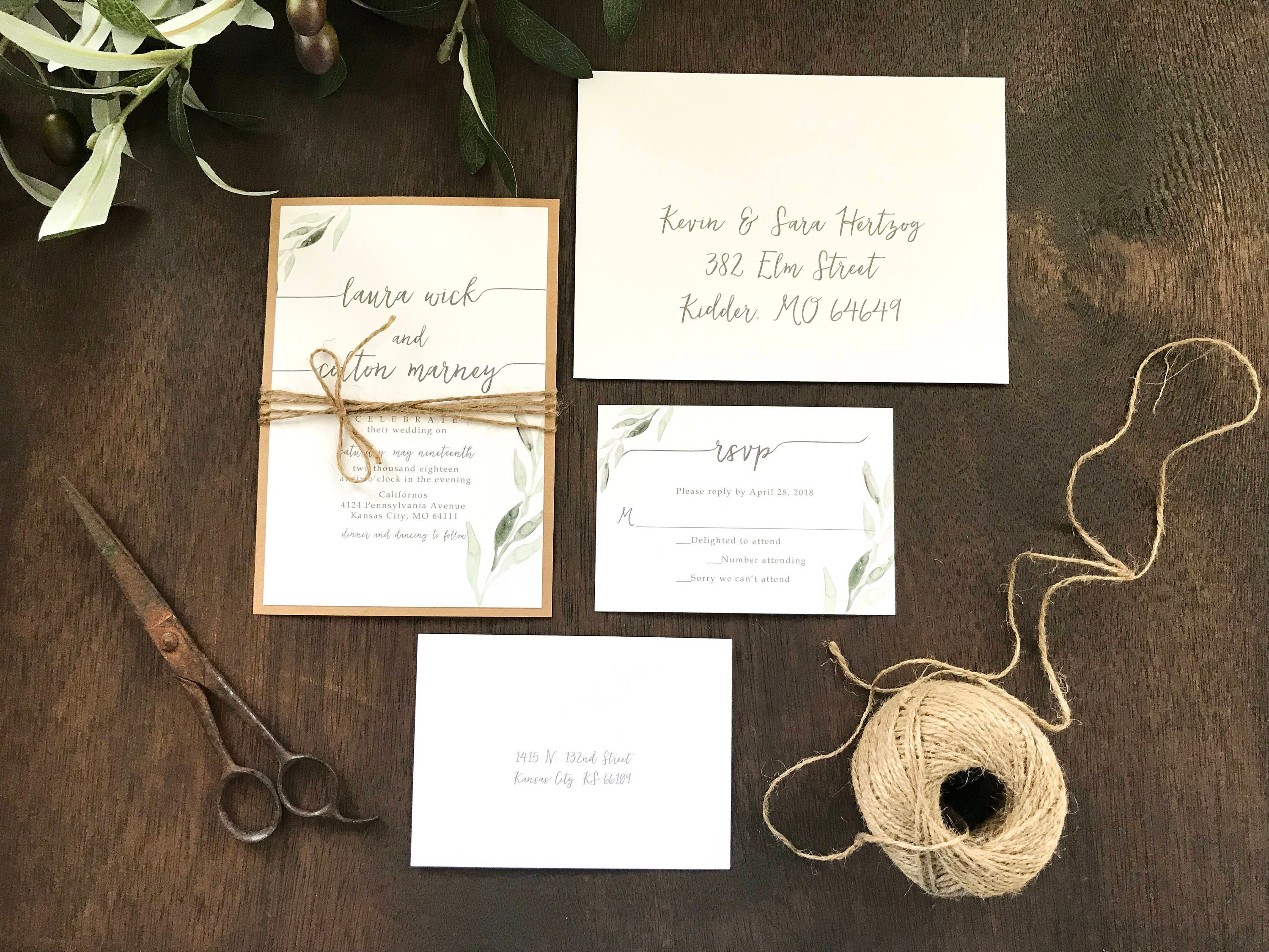 Eucalyptus Wedding Invitation Set Greenery Wedding