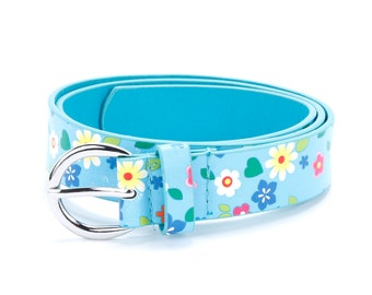 Floral Print Leather Belt - Blue