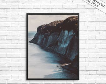 Coastal print, Beach wall print, Ocean photography, Sea wall art, Seashore wall decor, Ocean wall print, Beach photo, Rocks, Cliffs, Digital