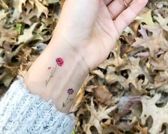 Mini temporary tattoos flower set of 4, flower tattoo,Rose,Cosmos, Poppy, Carnation,New Fall look,Handmade,floral temporary,body art, Winter