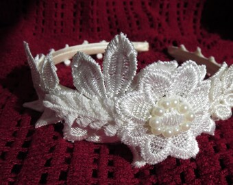 Wedding headband, lace headpiece, acrylic pearls and swarovski. Vintage Boho style wedding hair accessories.