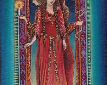 Hecate Goddess of Crossroads Pagan Witch Mythology 5x7 Greeting Card Pagan Mythology Psychedelic Bohemian Gypsy Witch Goddess Art