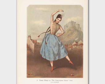 "Gypsy Art, Ballerina Illustration (Vintage Dance Decor,  1940s Ballet Wall Hanging)-- ""La Gypsy"""