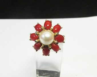 On Sale Vintage Estate Mid Century 14KT Red Coral and Pearl Ring