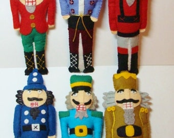 Nutcracker Ornaments Set of 6 for Wool Applique Hand Sewing- Paper Pattern that is mailed to you