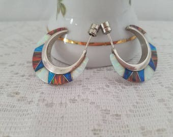 Rare Vintage Sterling Silver and Fire, Blue and Brown Opal Hoop Earrings