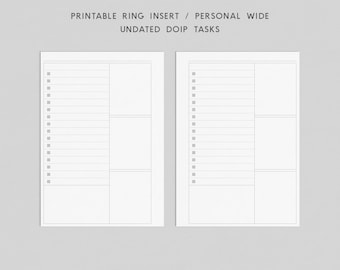 Printable Ring Inserts - Personal Wide - Undated DO1P Tasks Planner, Filofax Inserts, Personal Size Ring Inserts