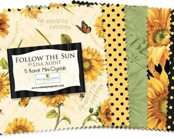 Follow the Sun 5 inch precut squares  bundle  Cotton Fabric wilmington Lisa Audit
