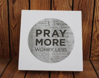 Pray More Worry Less,Inspirational Quote,Framed Quotes,Framed Wall Art,Wood Sign,Birthday Gift Her,Mothers Day Gift,Christian Wall Art,Bible