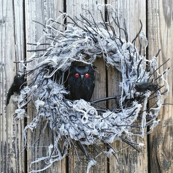Halloween Wreath, Gossamer Black Twig Wreath