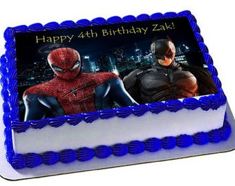 spiderman vs batman edible cake topper,frosting sheet,superheroes birthday cake topper,edible images