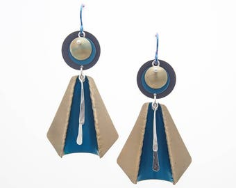 Fold and Curve Statement Earrings - Gold, Teal and Black Anodized Aluminum