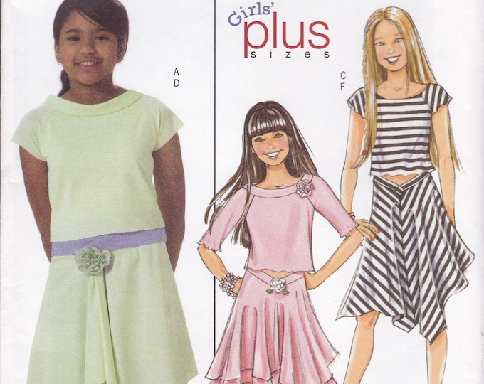 FREE US SHIP Butterick 4546 Sewing Pattern Girls Middy Top and Hanky Hem Skirt Size 7 8 10 12 14 New Uncut