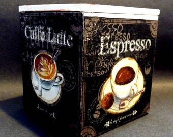 Espresso, Latte, Cappuccino - I love COFFEE -   hand decorated cube box/ flap lid