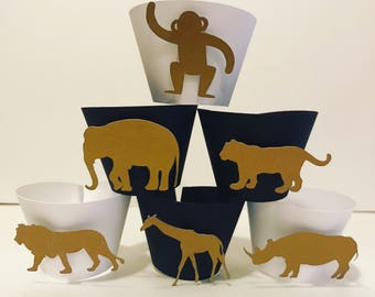 Gold safari cupcake holders