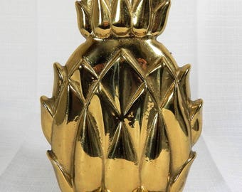 Vintage VMC Virginia Metalcrafters Brass Pineapple Brass Bookend Brass Doorstop Regency Hollywood Brass Home Decor