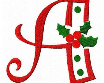 Christmas holly letters font machine embroidery design