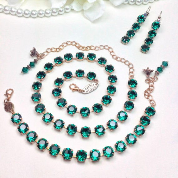 Swarovski Crystal 8.5mm Necklace / Bracelet / Earrings - Designer Inspired  - Gorgeous - Jewel-Color - Emerald Green - FREE SHIPPING